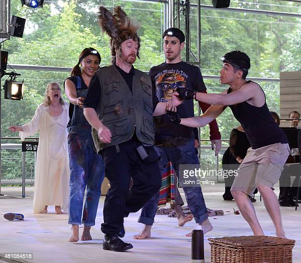Forbes Masson as Bottom with the Company perform on stage during a performance of A Midsummer Night's Dream by the Royal Shakespeare Company In...