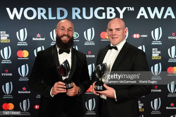 DJ Forbes of New Zealand and Stephen Moore of Australia pose with the International Rugby Players Special Merit awards during the World Rugby via...
