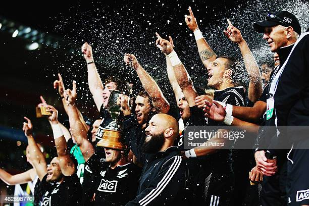 Forbes of new Zealand celebrates with his team after winning the Cup Final match between New Zealand and England in the 2015 Wellington Sevens at...
