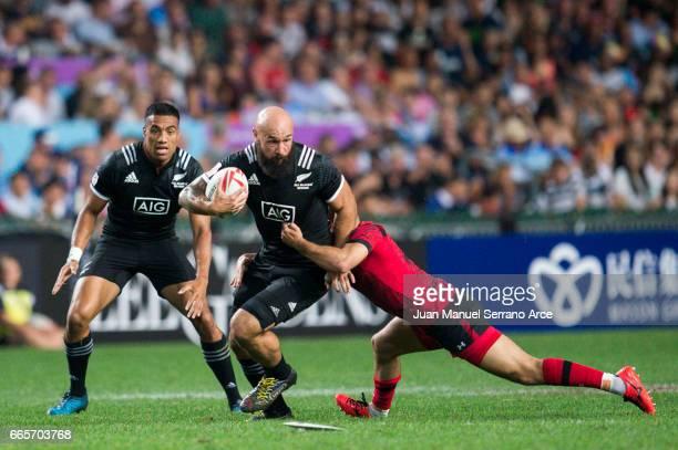 Forbes of New Zealand competes during the 2017 Hong Kong Sevens match between New Zealand and Wales at Hong Kong Stadium on April 7 2017 in Hong Kong...