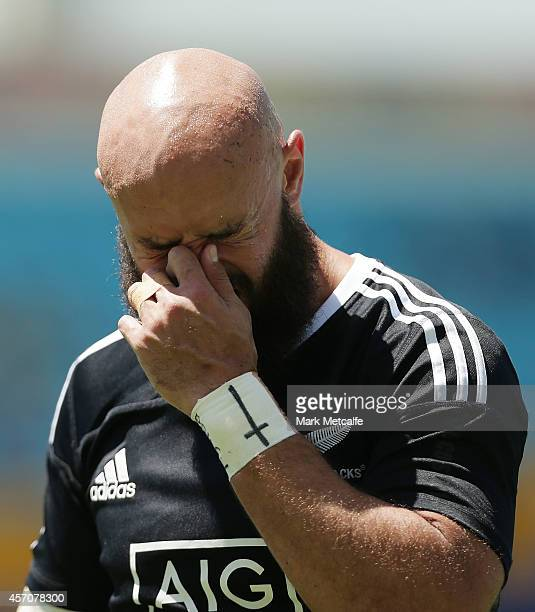 Forbes of New Zealand looks dejected after defeat in the 2014 Gold Coast Sevens Cup quarterfinal match between New Zealand and England at Cbus Super...