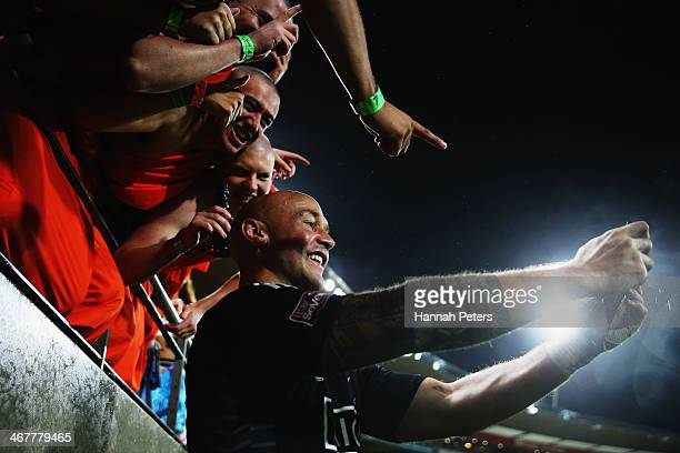 Forbes of New Zealand photographs himself with fans after winning the final match between New Zealand and South Africa at Westpac Stadium on February...