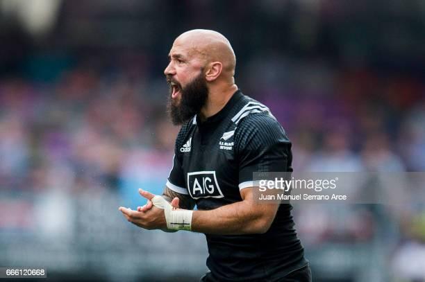 Forbes of New Zealand reacts during the 2017 Hong Kong Sevens match between Fiji and New Zealand at Hong Kong Stadium on April 8 2017 in Hong Kong...