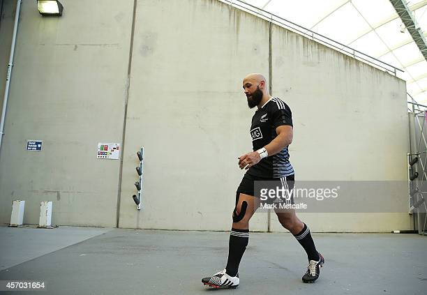 Forbes of New Zealand walks from the field after the 2014 Gold Coast Sevens Pool A match between New Zealand and Japan at Cbus Super Stadium on...