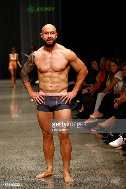 Forbes of the All Blacks Sevens walks in the Jockey show at New Zealand Fashion Week 2015 on August 27 2015 in Auckland New Zealand