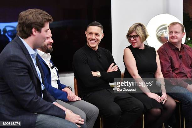Forbes's Alex Konrad SamsungÕs Tom Harding Actor Theo Rossi LÕOrealÕs Rachel Weiss and Oculus's Andy Mathis speak at the Samsung Gear VR 2nd...