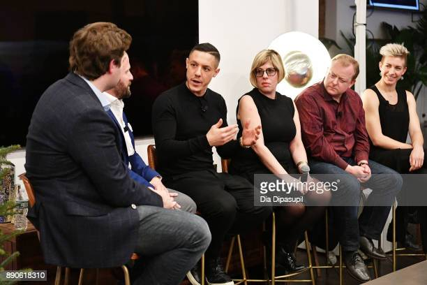 Forbes's Alex Konrad SamsungÕs Tom Harding Actor Theo Rossi LÕOrealÕs Rachel Weiss Oculus's Andy Mathis and AirbnbÕs Wren Dougherty speak at the...