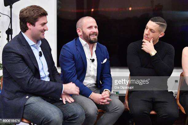 Forbes's Alex Konrad SamsungÕs Tom Harding and actor Theo Rossi speak at the Samsung Gear VR 2nd Anniversary Panel on December 11 2017 in New York...