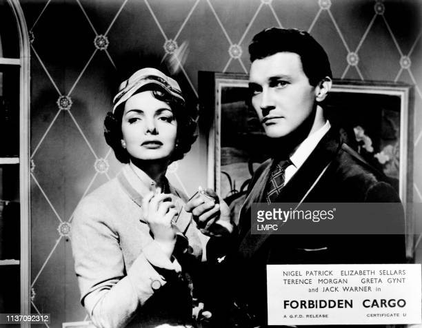 Forbidden Cargo lobbycard from left Elizabeth Sellars Terence Morgan 1954