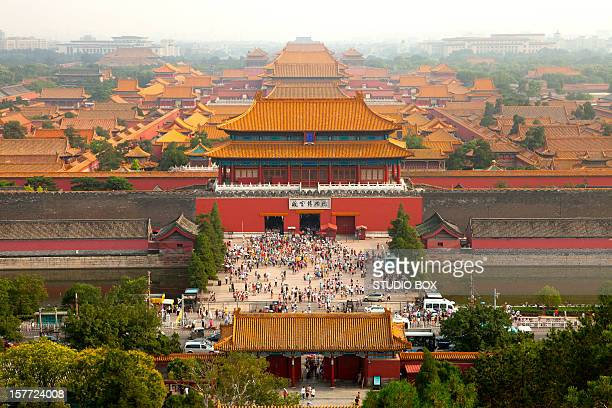 forbidden city from above, beijing - studio city stock pictures, royalty-free photos & images