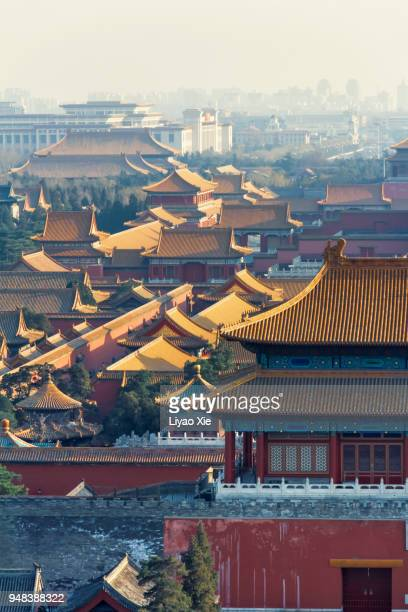 forbidden city in mist - liyao xie stock pictures, royalty-free photos & images