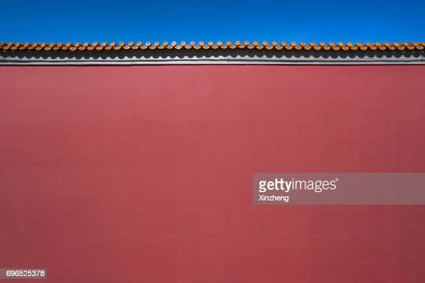 forbidden city red wall, china - east asia - china east asia stock pictures, royalty-free photos & images