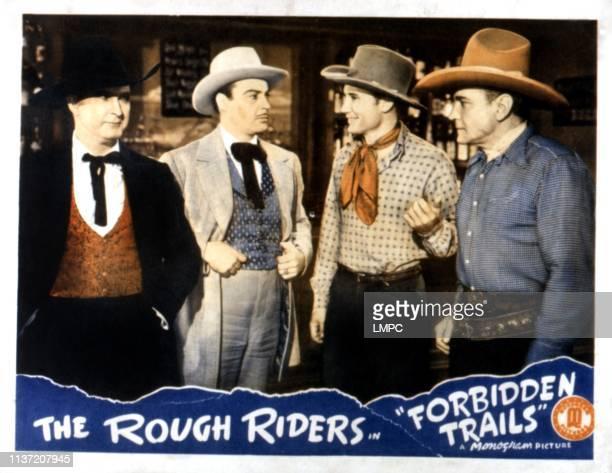 Forbidden Trails, lobbycard, Tim McCoy, Tris Coffin, Dave O'Brien, Buck Jones, 1941.