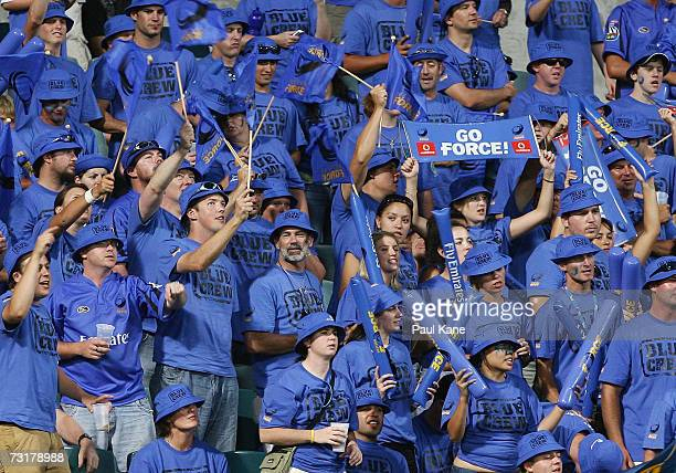 Force fans show their support during the round one Super 14 match between the Western Force and the Highlanders at Subiaco Oval Fabruary 2, 2007 in...
