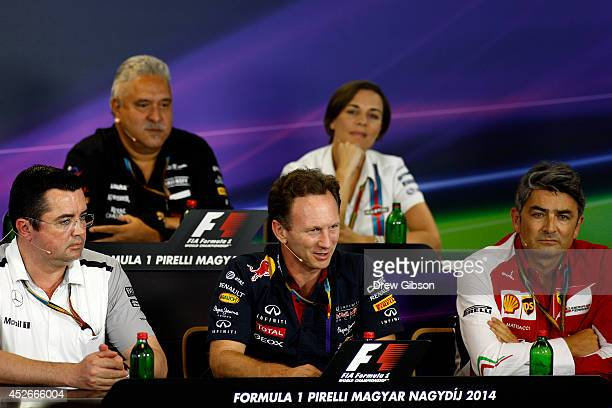 Force India Chairman Vijay Mallya and Williams deputy team principal Claire Williams McLaren Racing Director Eric Boullier Infiniti Red Bull Racing...