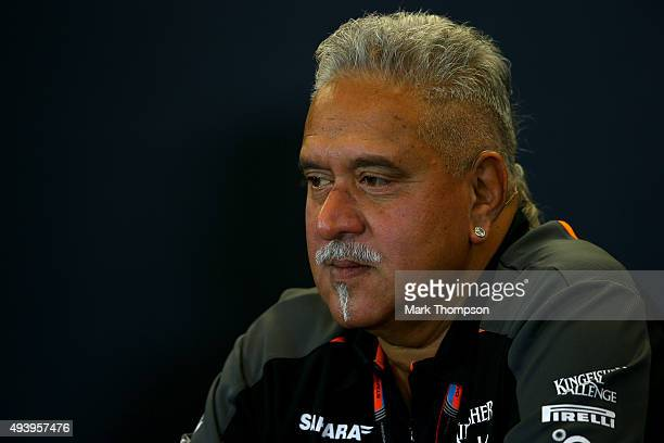 Force India Chairman Vijay Mallya attends a press conference after practice for the United States Formula One Grand Prix at Circuit of The Americas...