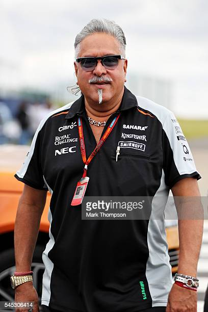 Force India Chairman Vijay Mallya in the Paddock during previews ahead of the Formula One Grand Prix of Great Britain at Silverstone on July 7 2016...