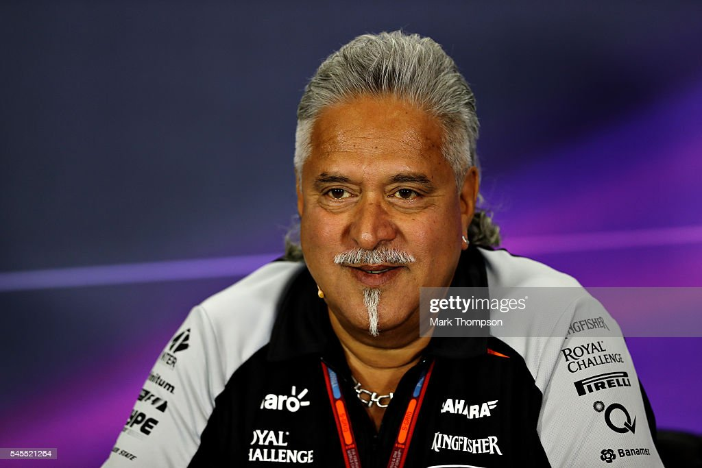 Force India Chairman Vijay Mallya in the Team Principals Press Conference during practice for the Formula One Grand Prix of Great Britain at Silverstone on July 8, 2016 in Northampton, England.