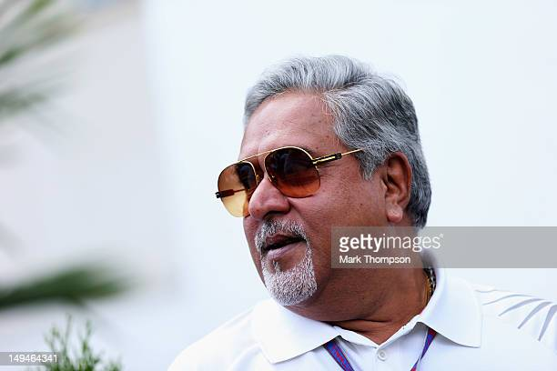 Force India Chairman Vijay Mallya is seen during qualifying for the Hungarian Formula One Grand Prix at the Hungaroring on July 28 2012 in Budapest...