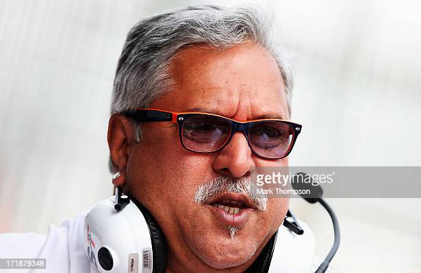 Force India Chairman Vijay Mallya is seen during qualifying for the British Formula One Grand Prix at Silverstone Circuit on June 29 2013 in...