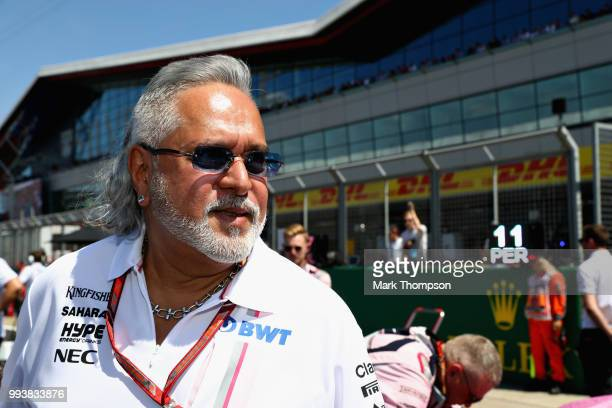 Force India Chairman Vijay Mallya on the grid before the Formula One Grand Prix of Great Britain at Silverstone on July 8 2018 in Northampton England