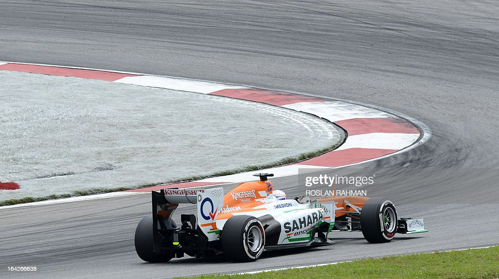 Force India driver Paul Di Resta of Britain approaches a corner during the second practice session of the Formula One Malaysian Grand Prix at Sepang on March 22 , 2013. The Malaysian Grand Prix will take place on March 24.