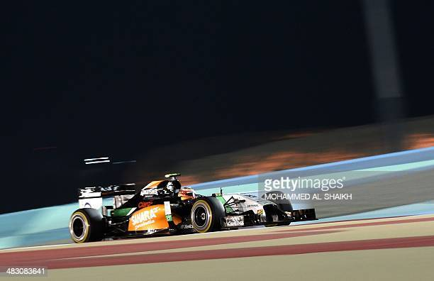 Force India driver Sergio Perez of Mexico steers his car during the Formula One Bahrain Grand Prix at Sakhir circuit in Manama on April 6, 2014....