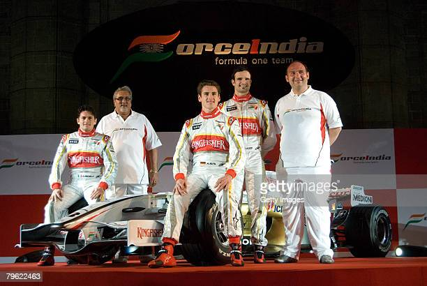 Force India Formula One team drivers Giancarlo Fisichella of Italy Vijay Mallya Vitantonio Luizzi of Italy Adrian Sutil of Germany and Collin Kolles...