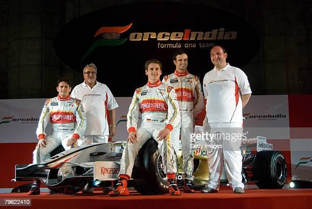 Force India Formula One team drivers Giancarlo Fisichella, Vijay Mallya , Vitantonio Luizzi, Adrian Sutil, and Collin Kolles pose with the new Force...