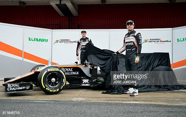 Force India team Mexican driver Sergio Perez and German pilot Nico Hulkenberg unveil their new VJM09 car during the official presentation at the...