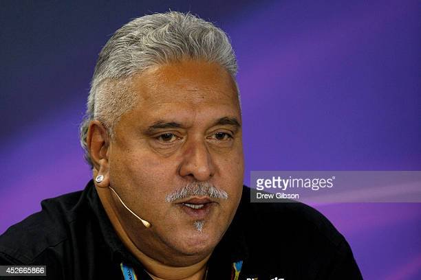 Force India team principal Vijay Mallya speaks during a press conference after practice ahead of the Hungarian Formula One Grand Prix at Hungaroring...