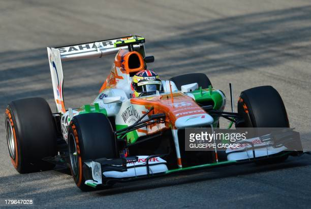 Force India's British test driver James Calado drives during the first practice session at the Autodromo Nazionale circuit in Monza on September 6...