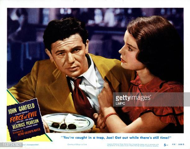 Force Of Evil poster from left John Garfield Beatrice Pearson 1948