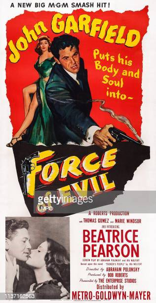 Force Of Evil poster US poster art John Garfield Beatrice Pearson 1948