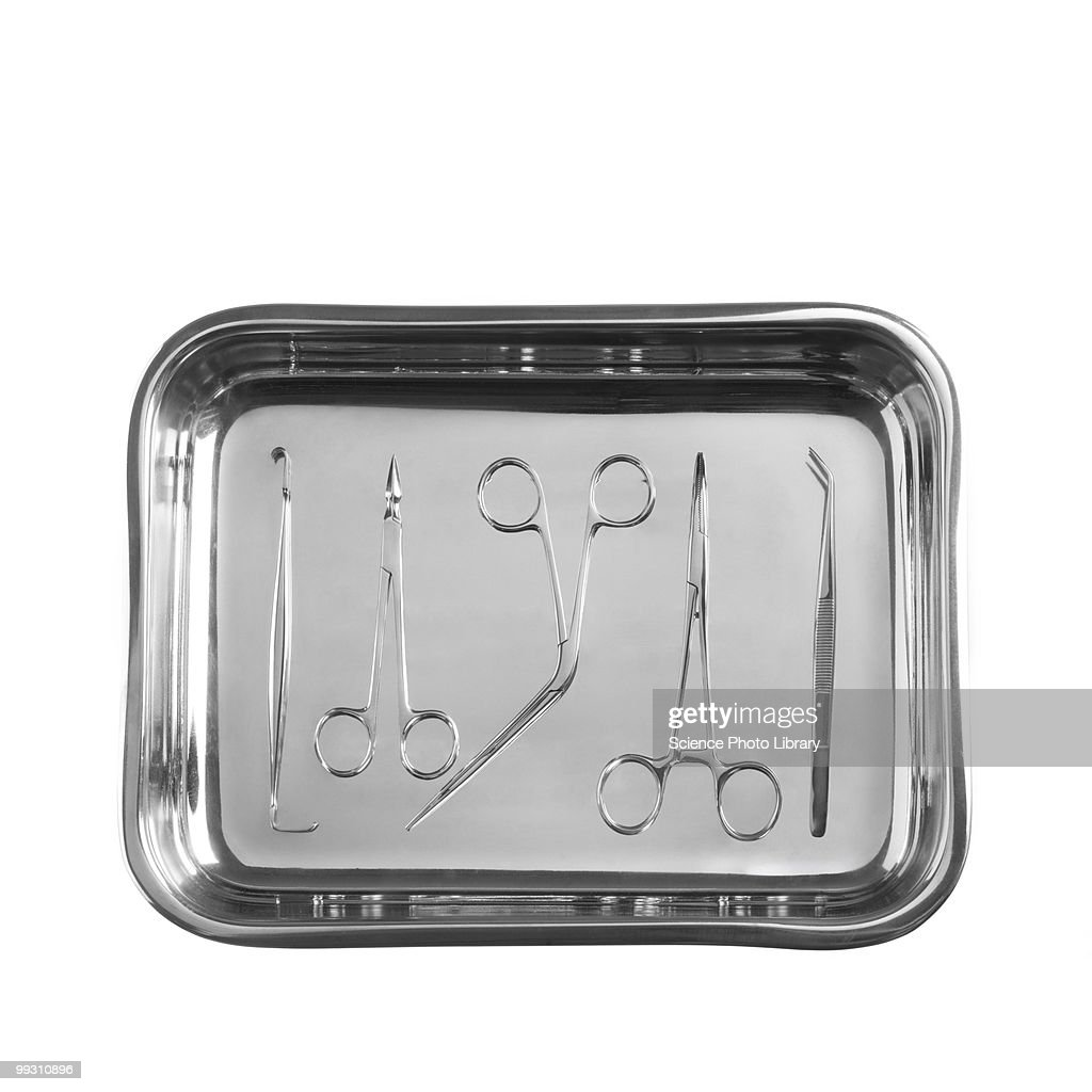 Forceps in a tray : Stock Photo