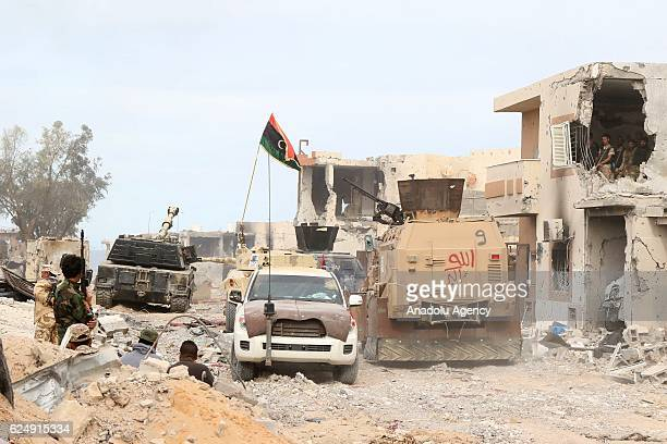 Forces linked to Government of National Accord are seen as they attack Daesh positions during the operation ''Al Bunyan Al Marsous'' at the city of...