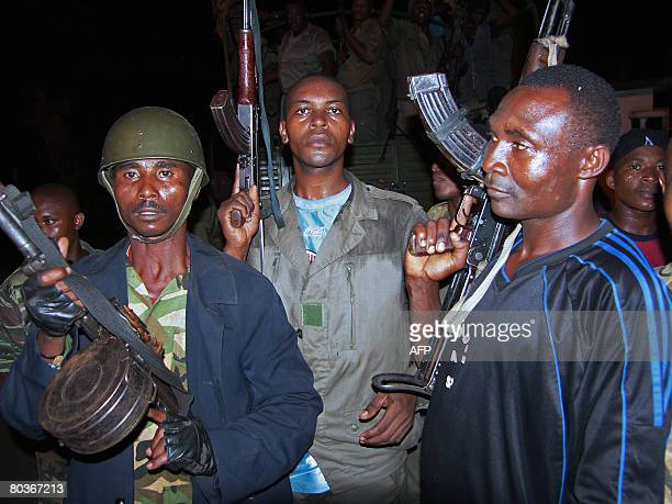Forces loyal to Anjouan's leader Mohamed Bacar rally as they wait the assault by African Union troops in Ouani late on March 24 2008 African Union...