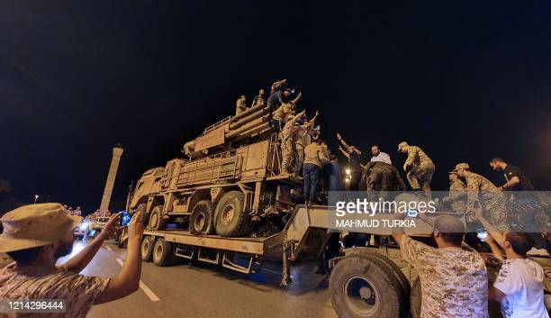 Forces loyal to Libya's UNrecognised Government of National Accord parade a Russianmade Pantsir air defense system truck in the capital Tripoli on...