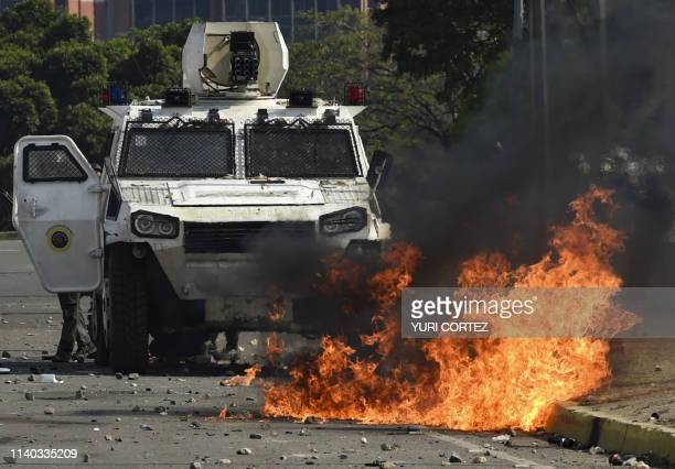 Forces loyal to President Nicolas Maduro confront supporters of Venezuelan opposition leader and selfproclaimed acting president Juan Guaido after...