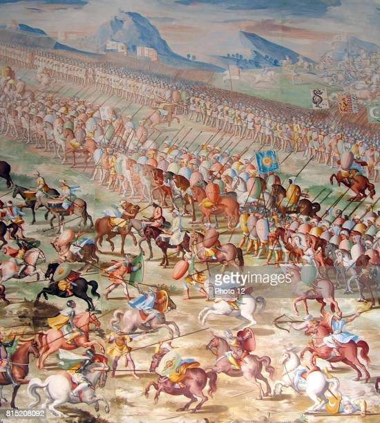 Forces of Muhammed IX Nasrid Sultan of Granada at the Battle of Higueruela 1431 as depicted in a series of fresco paintings by Fabrizio Castello...