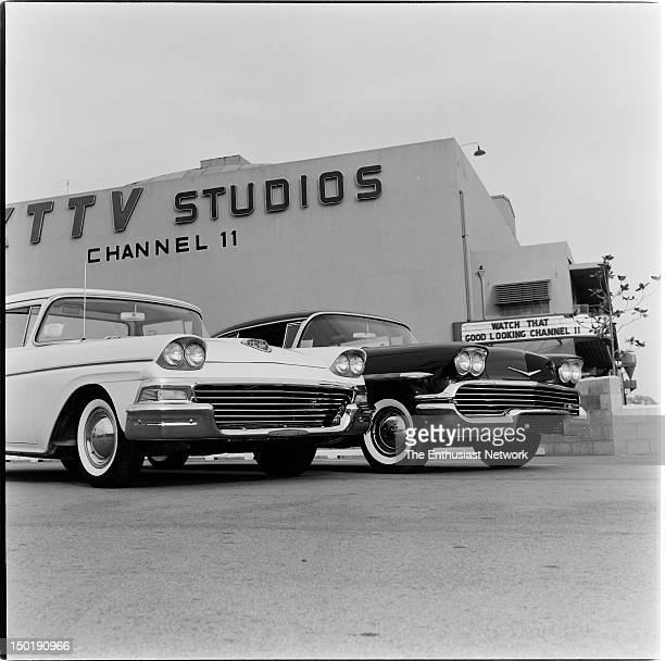 Ford And Chevrolet with custom tube grilles parked outside the KTTV television studios for Channel 11 in Los Angeles