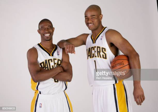 Ford and Jarrett Jack of the Indiana Pacers poses for a portrait during NBA Media Day on September 29, 2008 at Conseco Fieldhouse in Indianapolis,...