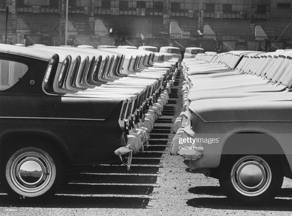 Ford Anglia cars stand idle during a worker's strike at the Ford Motor Company plant in Dagenham, London.