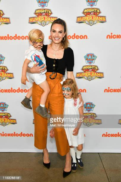 """Ford Armand Douglas Hammer, Elizabeth Chambers, and Harper Grace Hammer attend the """"PAW Patrol Mighty Pups Super Paws"""" advance screening at..."""