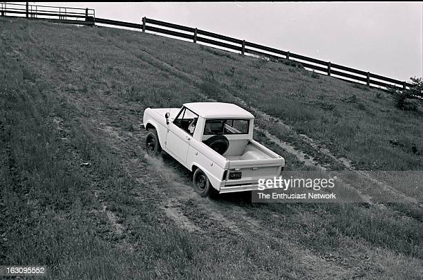 Ford Bronco GT40 Climbing steep hills with loose dirt surface was easy when extremely low range of Bronco's twospeed 4WD train took over This caption...