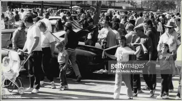 Ford Car collectors display their goods at Peter Warren Motors Warwick FarmGeneral Croud Shot July 26 1987