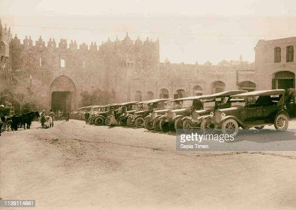 Ford cars parked in Damascus Gate area 1934 Jerusalem