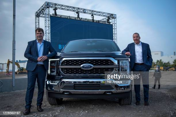 Ford CEO Jim Farley, left, and Executive Chairman of Ford Bill Ford pose for a photo with the 2021 Ford F-150 King Ranch Truck at the Ford Built for...