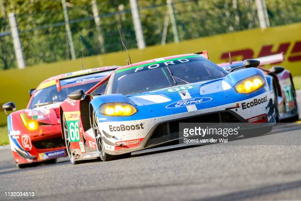 Ford Chip Ganassi Racing Ford GT race car of Stefan Mücke and Olivier Pla and AF Corse Ferrari 488 GTE driving on track during the 6 Hours of...