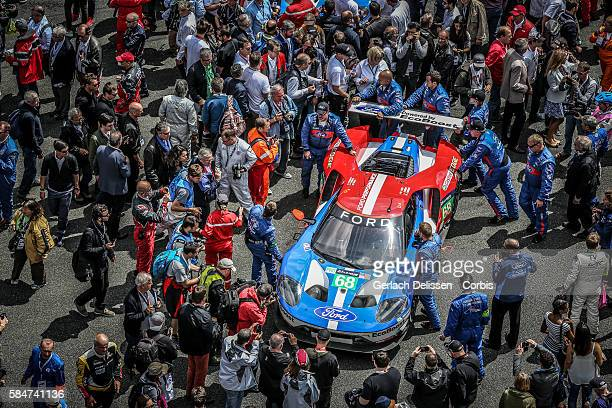 Ford Chip Ganassi Team USA , #68 Ford GT, with Drivers Joey Hand , Dirk Muller and Sebastien Bourdais on the grid during the 84th running of the Le...